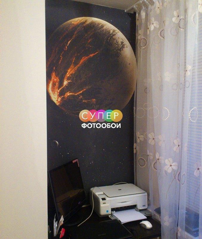 """Фотообои Космос для спальни. Фактура """"Песок мелкий"""" , ширина полотен 1м."""
