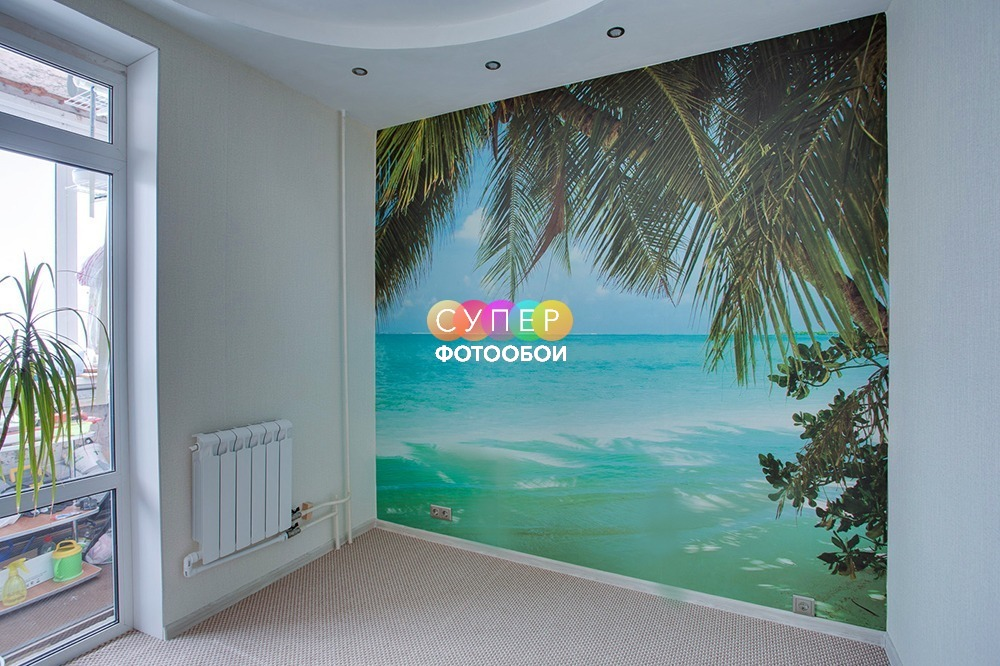 """Фотообои Море для гостиной. Фактура """"Песок мелкий"""" , ширина полотен 1м."""